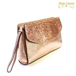 NWT Coach Glitter Rose Gold Leather Wristlet Clutch💗💛💕